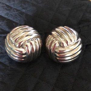 Vintage Sterling Silver Half Dome Earrings
